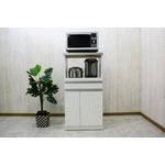 レンジ台(キッチン収納) 1型 幅60cm スライドレール/二口コンセント/米びつ付き 日本製 ホワイト(白) 【完成品】