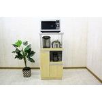 レンジ台(キッチン収納) 2型 幅60cm スライドレール/二口コンセント/米びつ付き 日本製 ナチュラル 【完成品】