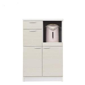 レンジ台(キッチン収納)幅60cmスライドレール/二口コンセント/米びつ付き木目柄日本製ホワイト(白)【完成品】