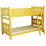 二段ベッド(シングルベッド2台) フレームのみ 木製 安全金具/階段付き スノコ床板 ライトブラウン