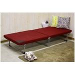 折りたたみ式ベッド 【シングルサイズ】 スチールフレーム 高反発ウレタン7cm厚マットレス 軽量 レッド(赤) 【完成品】