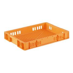 (業務用10個セット)三甲(サンコー) 全面網目コンテナボックス/サンテナー スタッキング可 B10 オレンジ