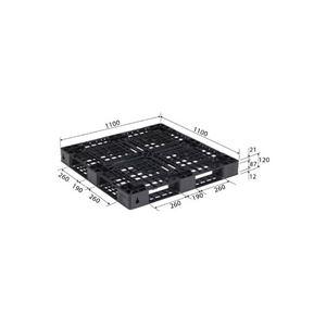 (業務用2個セット)三甲(サンコー) プラスチックパレット/リサイクルパレット 【片面使用型】 D4-1111-14 ブラック(黒)