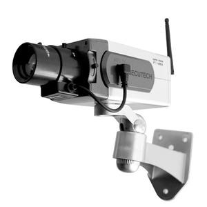 ワイヤレス型ダミーカメラ【屋内・軒下用】CCTVステッカー付きWI-1400A〔防犯/万引き・不正行為の威嚇〕