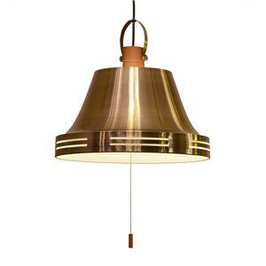 ペンダントライト/照明器具 【3灯】 スチール×天然木 ELUX(エルックス) Wood bell アンティークブラス 【電球別売】