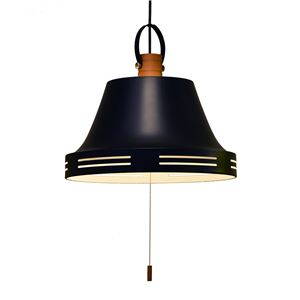 ペンダントライト/照明器具 【3灯】 スチール×天然木 ELUX(エルックス) Wood bell マットブラック 【電球別売】