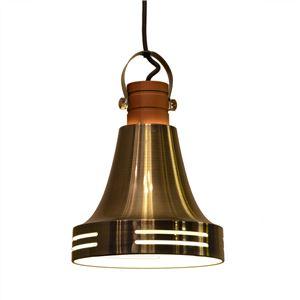 ペンダントライト/照明器具 【1灯】 スチール×天然木 ELUX(エルックス) Wood bell アンティークブラス 【電球別売】 - 拡大画像