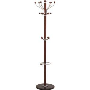ポールハンガーA(衣類収納) 高さ182cm 大理石ベース×木製ポール 傘立て付き BR ブラウン