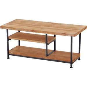 テレビ台/テレビボード 【幅90cm:26型〜32型対応】 木製/杉古材 スチール 『JOKER』 木目調 収納棚付き - 拡大画像