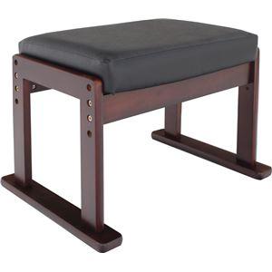 オットマン/スツール 【高座椅子対応】 木製×合成皮革(合皮) 高さ3段階調節可 ブラックレザー