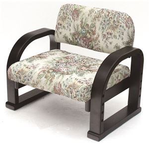 TV座椅子(パーソナルチェア) 木製 肘付き 高さ3段階調整可 バラ柄 - 拡大画像