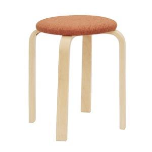 スタッキングスツール/丸椅子 【同色5脚セット】 座面:ファブリック布地 木製脚 OR オレンジ 【完成品】 - 拡大画像
