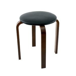 スタッキングスツール/丸椅子 【同色5脚セット】 座面:合成皮革(合皮) 木製脚 ブラック(黒) 【完成品】 - 拡大画像