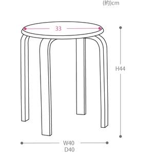 スタッキングスツール/丸椅子 【同色5脚セット】 座面:合成皮革(合皮) 木製脚 アイボリー 【完成品】