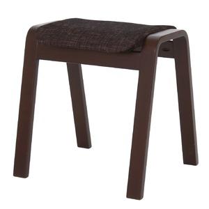 スタッキングスツール/腰掛け椅子 【同色4脚セット】 ファブリック木製脚 ブラック(黒) 【完成品】 - 拡大画像