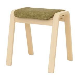 スタッキングスツール/腰掛け椅子 【同色4脚セット】 ファブリック木製脚 グリーン(緑) 【完成品】 - 拡大画像