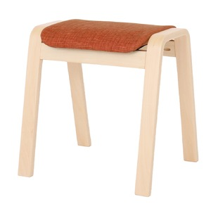 スタッキングスツール/腰掛け椅子【同色4脚セット】ファブリック木製脚オレンジ(橙)【完成品】