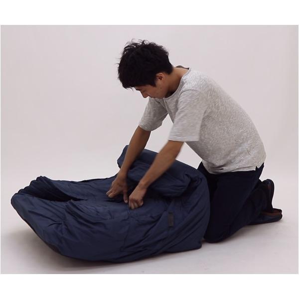 圧縮ウレタンソファ【LIBREST-1P-】(リブレスト)【1人掛け】  ローソファ 座椅子 ネイビー