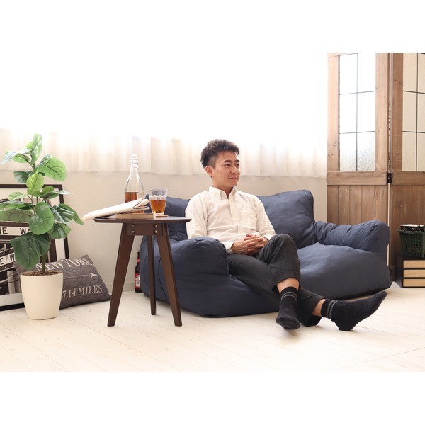 圧縮ウレタンソファ【LIBREST-2P-】(リブレスト)【2人掛け】  ローソファ ネイビー