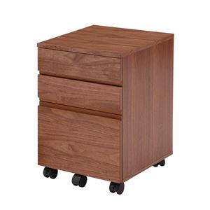 木目調デスクワゴン/サイドチェスト 【幅40cm】 木製 ウォールナット キャスター付き
