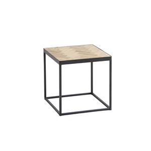 デザインサイドテーブル/置台 【正方形 幅37cm】 木製 スチールフレーム ナチュラル 【完成品】