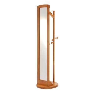 ミラー付き回転ハンガーラック/全身姿見鏡 【ハニーブラウン】 高さ171cm 木製