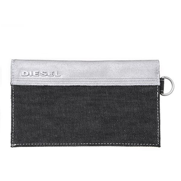 DIESEL (ディーゼル ) X01415 PS878 H1145 折長財布 ブラック/シルバーデニムf00