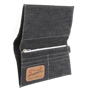 DIESEL (ディーゼル ) X01415 PS878 H1145 折長財布 ブラック/シルバーデニム h03