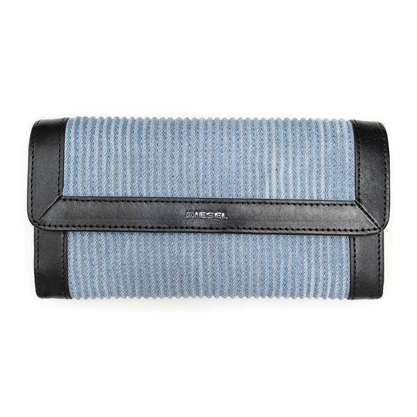 DIESEL (ディーゼル ) X03531 PR570 H4807 Light Blue/Black 長財布f00