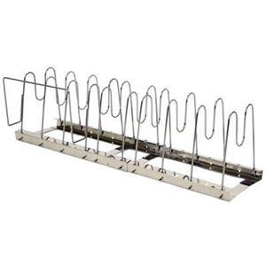 フライパンスタンド(伸縮式鍋・フライパンラック/キッチン収納) ステンレス製 幅44〜76cm 日本製