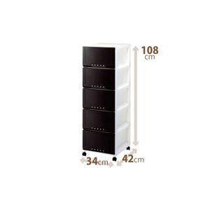 ルームケース/多目的収納ケース 【5段/ブラウン】 幅34cm×奥行42cm キャスター付き 『プロフィックス』 日本製
