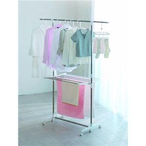 伸縮式室内物干しスタンド/洗濯物干し 【H型】...の紹介画像3