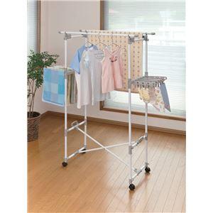 キャスター付き室内物干しスタンド/洗濯物干し【折りたたみ可】大容量幅86cm