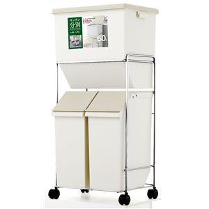 フタ付き縦型ゴミ箱/ダストボックス 【2段 5分別】 ベージュ 大容量/60L キャスター付き 日本製