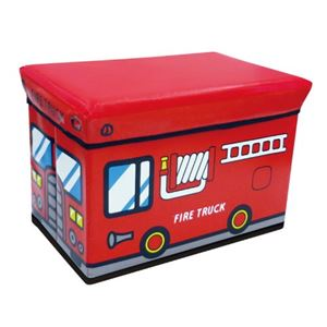 座れる収納ボックス/オットマン 【ファイヤートラック】 幅48cm クッション座面 〔子供部屋収納 おもちゃ箱 ストレージ〕