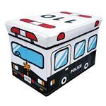 座れる収納ボックス/オットマン 【パトカー】 幅48cm クッション座面 〔子供部屋収納 おもちゃ箱 ストレージ〕