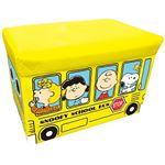座れる収納ボックス/オットマン 【スヌーピー イエロー】 幅48cm クッション座面 〔子供部屋収納 おもちゃ箱 ストレージ〕