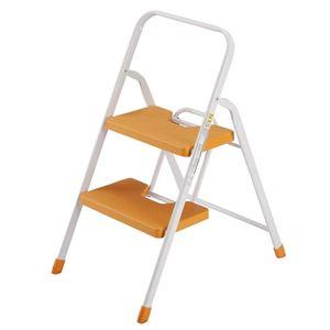 フォールディングステップ/脚立 【2段】 幅40cm 折りたたみ ロック機能付き ワンタッチ開閉式 オレンジ