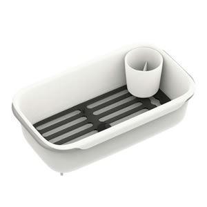 スリム水切りかご(水切りラック/キッチン用具) 伸縮式アーム 排水口あり スノコ/箸立て付き ホワイト(白) 日本製