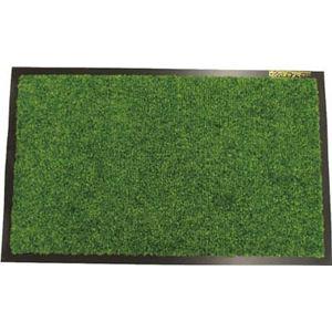 玄関マット/フロアマット【屋外60cm×90cm】グリーン(緑)洗える『ロンステップマット』
