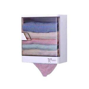タオルケースDX(タオル収納棚/洗面所収納) 幅26.8cm×奥行14.5cm 壁掛け式 日本製 - 拡大画像