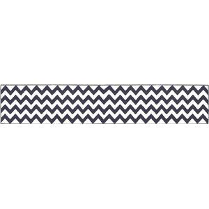 北欧風キッチンマット/インテリアマット 【45cm×240cm】 ヘリンボーン柄 ダークブルー 『ZIGZAG』