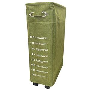 ランドリーバスケット/洗濯かご 【小 40L】 グリーン(緑) スリム キャスター付き 巾着形状