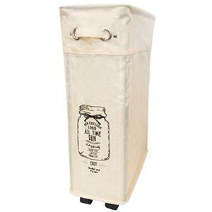 ランドリーバスケット/洗濯かご 【小 40L】 アイボリー スリム キャスター付き 巾着形状