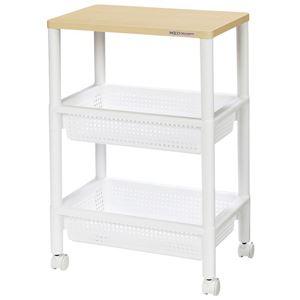 キャスター付きテーブルワゴン/マルチ収納棚 【ホワイト】 幅45.5cm×高さ70cm 2段バスケット棚 木製天板
