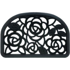 玄関ラバーマット(屋外用玄関マット/泥落としマット) Mサイズ 幅90cm バラ柄 洗える ブラック(黒)