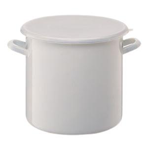 ホーロー製ストックポット/保存容器 【内寸直径:24cm/10L】 シールフタ付き 〔漬物づくり 食品保存〕 - 拡大画像