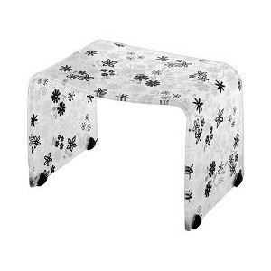 バスチェア/風呂椅子 【Mサイズ】 ブラックフラワー 高さ25cm 『フィルロ』 すべり止め 〔お風呂用品 バスグッズ バス用品〕