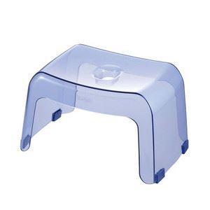 スタイリッシュ 風呂椅子/バスチェア 【クリアブルー】 高さ20cm 日本製 『カラリ』