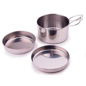 【キャプテンスタッグ】 アウトドア用食器セット 【3点セット】 ステンレス製 鍋・皿2個 持ち手:折りたたみ可 日本製